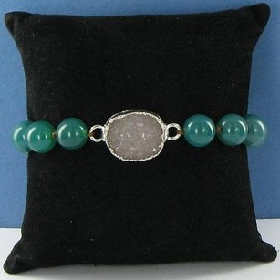 Other Nina Nguyen Lotus Bracelet Green Agate Beads White Druzy 925 Silver