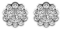 NWT 14K WHITE GOLD 0.75CT DIAMOND FLOWER STUD EARRINGS