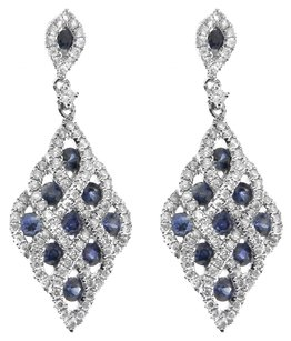 NWT 14K WHITE GOLD 1.22CT SAPPHIRE AND DIAMOND DROP EARRINGS
