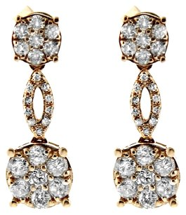 NWT 14K YELLOW GOLD 0.82CT ROUND DIAMOND DANGLE EARRINGS
