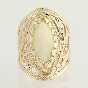 Opal Cocktail Ring - 14k Yellow Gold Marquise Shape Cabochon Cut 1.64ctw
