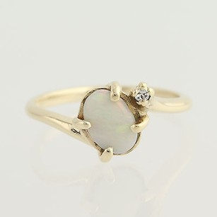 Opal Diamond Bypass Ring - 10k Yellow Gold October .42ctw
