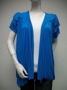 Other Vandana Layered Ruffle Sleeve Knit Teal Hangs Open Ja 9148 Blue Jacket