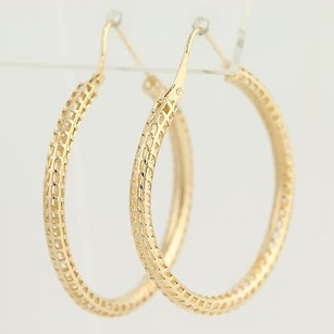 Other Open Cut Hoop Earrings - 18k Yellow Gold Window Pane Design Pierced