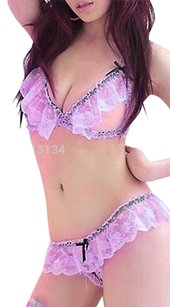 Other Open Lavender Lace Bra Lingerie With Matching Crotchless Panty