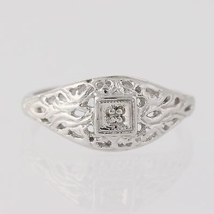 Ornate Gold Cocktail Ring - 10k White Gold Diamond-accented Womens 34