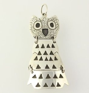 Owl Pendant - Sterling Silver Mexico Womens Animal Cute