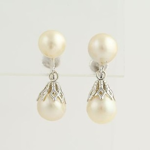 Other Pearl Drop Errings - Vintage Non Pierced Screw Back 14k White Gold Womens