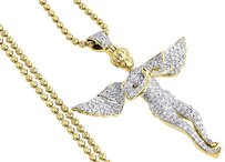 Diamond Angel Pendant 10k Yellow Gold Fully Iced Pave Charm Chain Set 1.05 Ct.