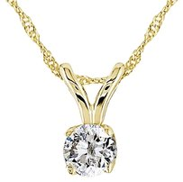 14k Yellow Gold 16 Ct Diamond Solitaire Pendant Necklace Chain G-h-i I1-i2