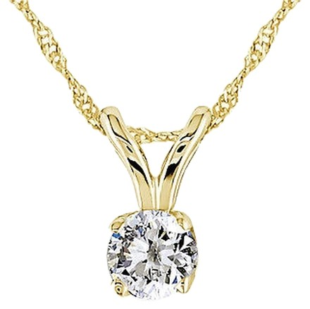 Other 14k Yellow Gold 16 Ct Diamond Solitaire Pendant Necklace Chain G-h-i I1-i2