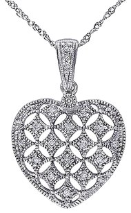 Other 14k White Gold 17 Ct Diamond Tw Heart Love Pendant Necklace With Chain Gh I1-i2