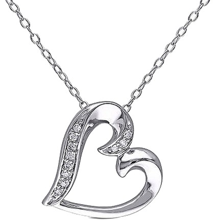 Other Sterling Silver Diamond Heart Pendant Necklace With Chain 925 Gh I2i3