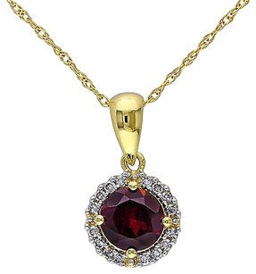 10k Yellow Gold 110 Ct Diamond 1 Ct Garnet Pendant Necklace Gh I2i3