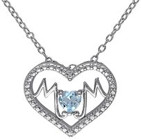 Other Sterling Silver 13 Ct Sky Blue Topaz Heart Heart-in-heart Love Pendant Necklace