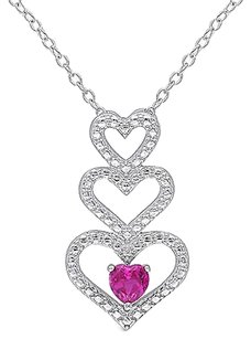 Other Sterling Silver 13 Ct Ruby Fashion Triple Stacked Heart Love Pendant Necklace