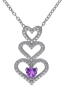 Other Sterling Silver 13 Ct Amethyst Triple Stacked Heart Love Pendant Necklace
