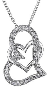 Sterling Silver 14 Ct Diamond Tw Heart Love Pendant Necklace I3