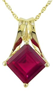10k Yellow Gold Ruby Square Pendant Necklace