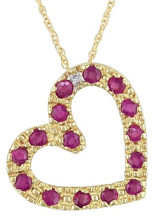 Other 10k Yellow Gold Ruby Diamond Heart Love Pendant Necklace 12 Ct I-j I2-i3 17