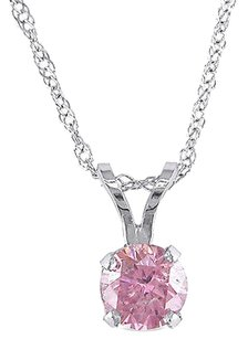 14k White Gold 12 Ct Tdw Pink Diamond Solitaire Pendant Necklace 17 Chain