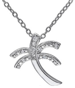Other Sterling Silver Diamond Palm Tree Pendant Necklace With Chain 925 Gh I2i3
