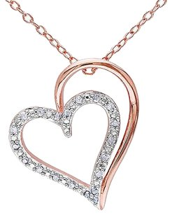 Other Rose Sterling Silver 110 Ct Diamond Two-tone Double Heart Pendant Necklace