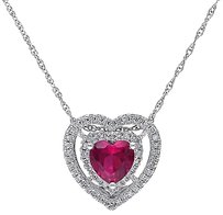 Other 10k White Gold 15 Ct Diamond 1 Ct Ruby Heart Love Pendant Necklace Gh I2i3