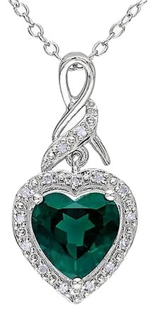 Other Sterling Silver 1.56 Ct Tw Diamond Emerald Heart Love Pendant Necklace Chain