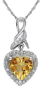 Other Sterling Silver 1.7 Ct Tw Diamond And Citrine Heart Love Pendant Necklace Chain
