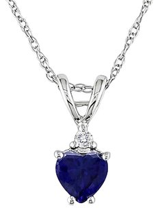 Other 10k White Gold Diamond 35 Ct Blue Sapphire Heart Love Pendant Necklace Chain