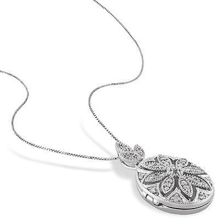 Other Sterling Silver 110 Ct Diamond Fashion Vintage Locket Pendant W Chain Gh I2i3