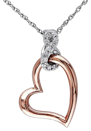 Other 10k White Gold Diamond Heart Love Pendant Necklace With Chain Gh I2-i3