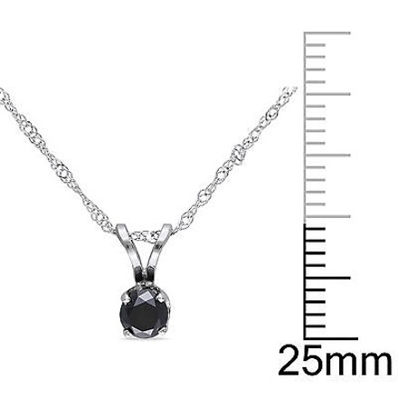 Other 14k White Gold 13 Ct Black Diamond Tw Solitaire Pendant Necklace With Chain