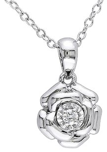 Sterling Silver Diamond Flower Rose Pendant Necklace With Chain Gh I1i2