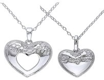 Other Sterling Silver Diamond Mom And Daughter Heart Pendant Necklace W Chain Set Of 2