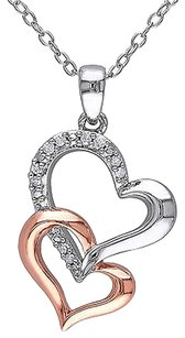Other Sterling Silver Diamond Two-tone Interlocking Hearts Pendant Necklace With Chain