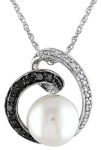 Other 10k White Gold 17 Ct Black White Diamond 8-9 Mm Pearl Swirl Pendant Necklace