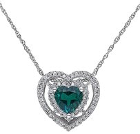 10k White Gold 15 Ct Diamond 34 Ct Emerald Heart Love Pendant Necklace