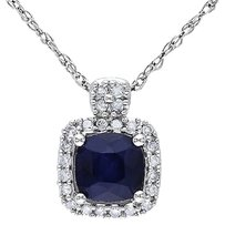 10k White Gold 110 Ct Diamond 34 Ct Tgw Diffused Sapphire Pendant Necklace