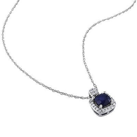 Other 10k White Gold 110 Ct Diamond 34 Ct Tgw Diffused Sapphire Pendant Necklace