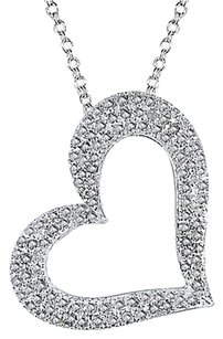 Other Sterling Silver 1 Ct Diamond Tw Heart Love Pendant Necklace With Chain I3