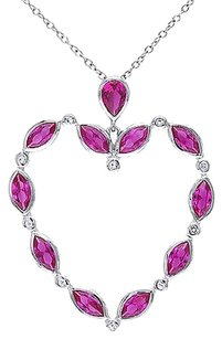 Sterling Silver Ruby White Topaz Heart Pendant Necklace Pendant Necklace 18