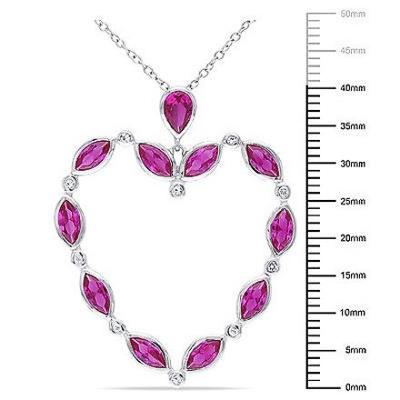Other Sterling Silver Ruby White Topaz Heart Pendant Necklace Pendant Necklace 18