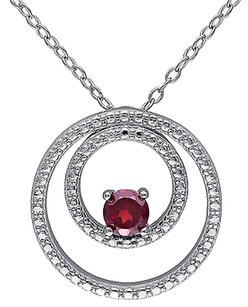 Sterling Silver 13 Ct Garnet Fashion Circle-in-circle Geoetric Pendant Necklace
