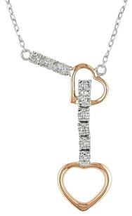 14k White Pink Two Tone Gold Diamond Heart Double Chain Love Necklace