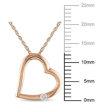 Other 10k Pink Gold Diamond Heart Love Pendant Necklace With 17 Chain Gh I2i3