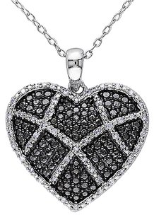 Other Sterling Silver 15 Ct Diamond Heart Love Pendant Necklace With Chain Gh I2-i3