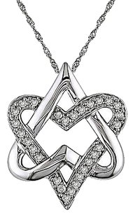 10k White Gold 14 Ct Diamond Religious Heart Love Interlocking Pendant Necklace