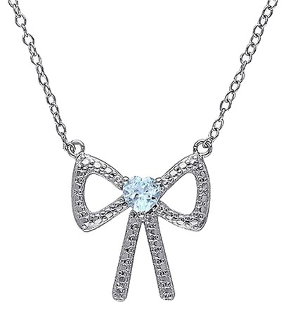 Other Sterling Silver 13 Ct Sky Blue Topaz Fashion Bow Love Heart Pendant Necklace